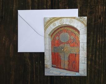 Ornate Wooden Jerusalem Door Postcard