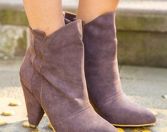 Brown Vintage High Heel Ankle Boots, Booties, Brown Melo Leather Boots
