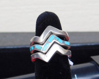 Vintage - 925 - Sterling Silver - Navajo - Native American - Indian - Three (3) Piece Ring Set with Inlaid  Turquoise Stone