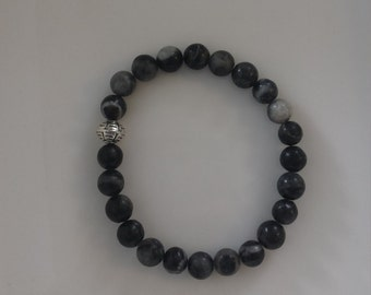Black/Grey 8 mm stone beads with silver spacer bead elastic bracelet