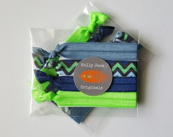 No-Fray Hair Ties, elastic FOE hairties, no crease hair ties, set of 4 no-fray hairties, Seattle Seahawks (chevron blue and green)