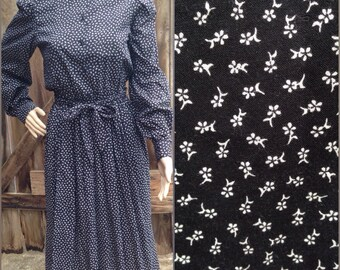 vintage ditsy floral prairie boho grunge secretary black white day dress