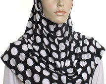 Black Polka Dot Print Al Amira Hijab / Ready to Wear Ladies Cover Up / Gift For Her / Head Wrap / Hair Turban / Snood / Muslim Womens Hijabs
