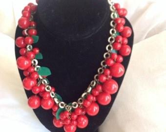 Vintage Celluloid & plastic Cherry berry necklace