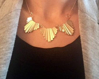 Gold Aztec Necklace, Gold Statement Necklace, Geometric Necklace