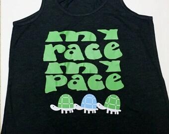 My race my pace racerback tank