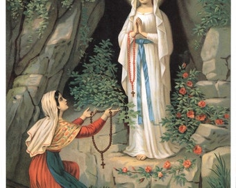St. Bernadette and Mary as the Immaculate Conception LOURDES GROTTO APPARITION 8x10 Catholic Religious Art Print Picture