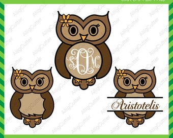 Owl Monogram and Split frame SVG DXF PNG eps animal Cut File for Cricut Design, Silhouette studio, Sure Cuts A Lot, Makes the Cut and more
