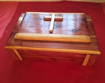 Small Cedar Chest with Cross Embellishment