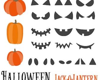 50% OFF SALE!  Halloween Jack -o- Lantern Clip Art Set - Set of 23 - Halloween Clip Art - Pumpkin Face - Instant Download - Scrapbook