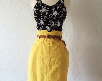 Lemon Drop Vintage High Waisted Skirt // Yellow High Waisted Skirt // High Waisted Pencil Skirt // Yellow 1980s Pencil Skirt