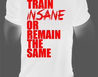 train insane or remain the same,motivational gym tee,gym tee,gym t-shirts,mens gym shirt,mens workout shirt,mens fitness shirt,motivational
