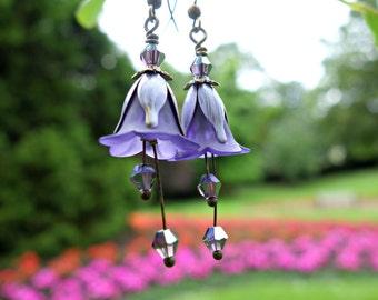 Amethyst Earrings - Flower Earrings - Amethyst Jewelry - Floral Earrings - Boho Earrings - Vintage Style Bohemian Earrings - Purple Earrings