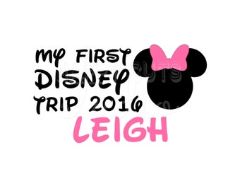 Personalized My First Disney Trip / Minnie Mickey Disney Bow Baby 2016 Year 1st Vacation World Disney Iron On Decal Vinyl for Shirt 076