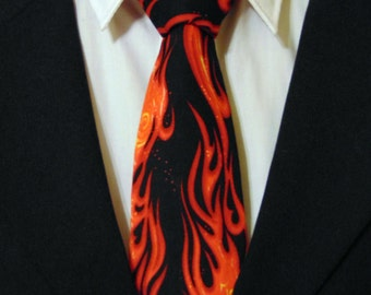 Flame Necktie, Flame Tie, Fire Necktie, Fire Tie, Mens Necktie, Mens Tie, Black Necktie, Black Tie, Red Necktie, Red Tie, Cotton Necktie