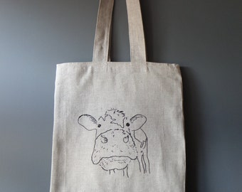 Tote, Linen tote, embroidered shoulder bag tote, Cow portrait embroidery
