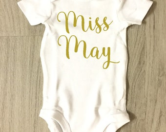 Miss May baby girl bodysuit - baby shower gift - coming home outfit