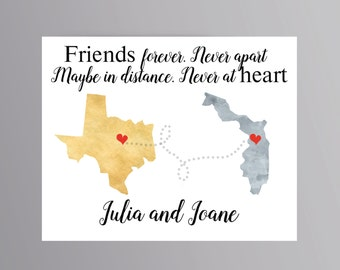 Best friend map Long distance friend custom map Moving away gift Friendship quote Friend gift Love map print Long distance love