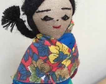 Peruvian Cloth Doll Carrying Baby. Hand Made Dolls of the world