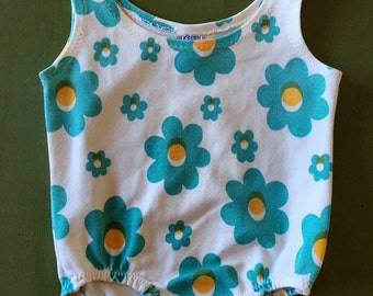 Vintage Baby Girl's Carters One-piece Swimsuit Blue Daisies