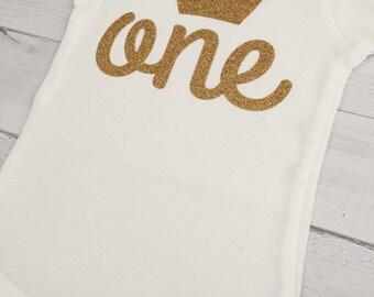 Princess One ONESIE® Bodysuit, Crown ONESIE® bodysuit, Baby Girl Birthday ONESIE® bodysuit