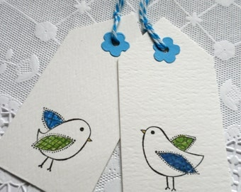 Hand Colored Bird Gift Tags  Set of 8