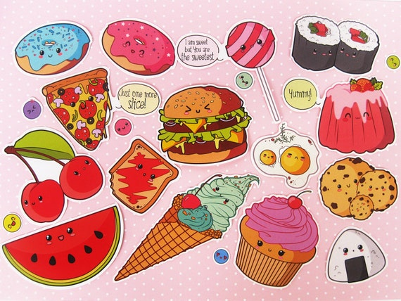 Cute food stickers. Vinyl stickers. Clear by CloseToHeartCraft