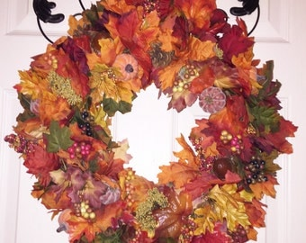 OOAK Fall Wreath, Fall Door Wreath, Autumn Wreath, Autumn Door Wreath, Autumn Decoration, Fall Decoration, Thanksgiving Wreath, Housewarming