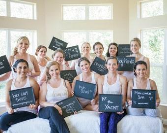 how we met bridesmaid signs, custom chalkboard sign, wedding photo with bridesmaids