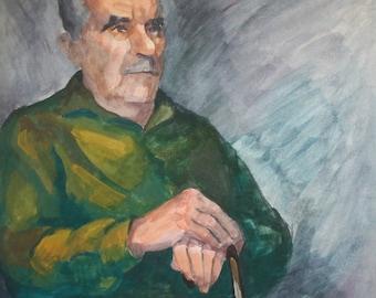 Vintage watercolor painting man portrait