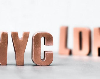 copper concrete letters choose your letter handmade and painted brutalist minimal metallics