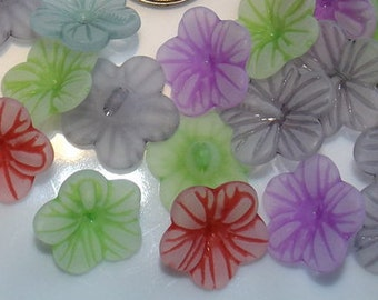 10 mixed color acrylic, button, flower, 16mm