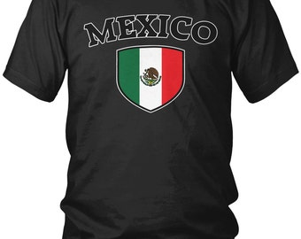 Mexico Country Flag Crest Men's T-Shirt, Mexican Pride, Mexico City, Nationality, Men's Mexico Soccer Shirts AMD_MEX_03