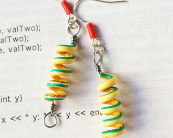 Cable Wire springs, techie, geeky earrings, recycled electronics modern jewelry, geekchic, handmade, engineer, gift for her