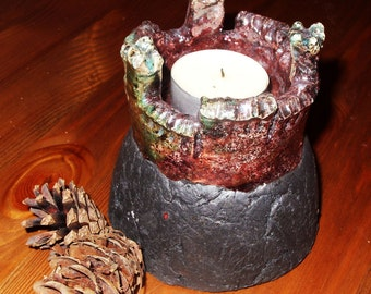 RAKU ceramic candle holder