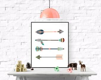 Colorful Arrows Printable, Tribal Arrows Nursery Printable, tribal Wall Art Printable,Arrow Printable, Boho Arrow Printable, Indian Print
