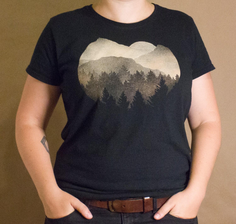 Forest sunset t shirt bleach design women 39 s shirt for How to bleach part of a shirt