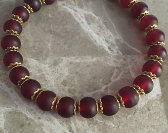 Deep cherry red & gold matte frosted bead stretch bracelet