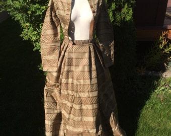 Antique 1860's Victorian Civil War Day Dress Bodice Skirt