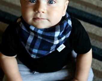 Baby Bandana bib-red or blue plaid