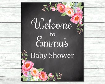 Pink Peonies Chalkboard Personalized Welcome Sign, Floral Chalk Board Baby Shower Welcome Sign, Custom, Printable Sign, DIY, Download 009-C