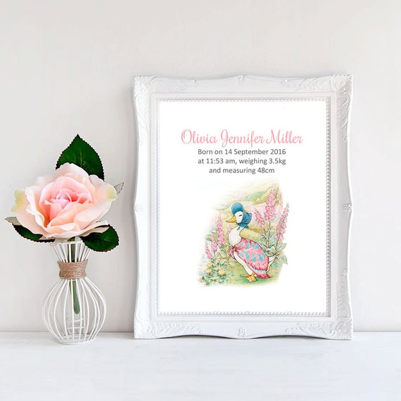 Jemima Puddle Duck Birth Announcement Nursery Art Beatrix
