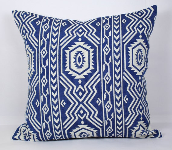 Blue Geometric Throw Pillows : Blue white geometric pillow throw covers beautiful by PillowCrafts