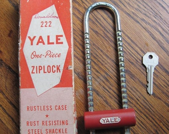 Vintage Yale Lock with key, Ziplock, bicycle lock