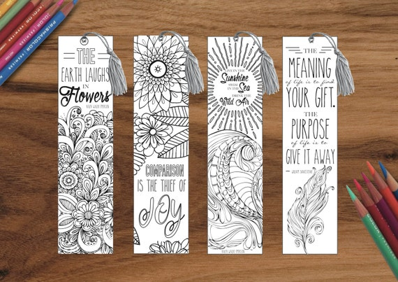 Coloring in Inspirational life quotes BOOKMARKS PRINTABLE