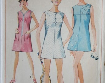 Vintage sewing pattern womens dress and shorts Simplicity 6998 Size 12 (Bust 32), 1960s shift dress, mini dress, tennis dress with yoke