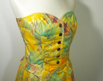 Vintage 80s Designer Structured Fit and Flare Viscose Sweetheart Dress, Made in France - Yellow Fall / Autumnal Colors - US Size 6 / M