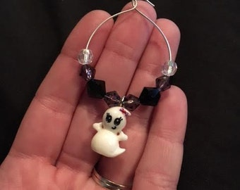 NEW!! Cute Girly Ghost with Hair bow Halloween Wine Glass Charm