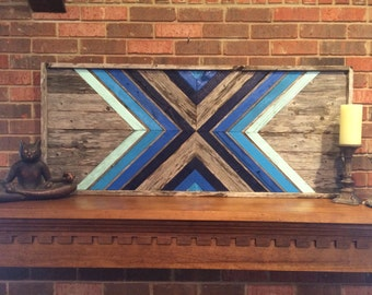 Shades Of Blue Reclaimed Wood Wall Art