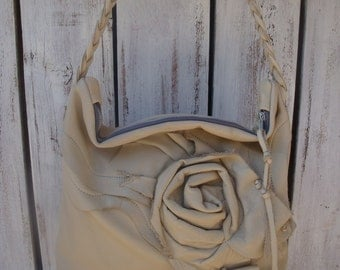 Slouchy Ivory White Leather Tote Bag Shoulder Purse With Rustic Rose Ready To Ship Zazu Bagz